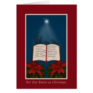 Pastor, Open Bible Christmas Message Greeting Card