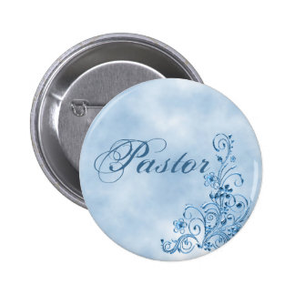 Pastor Round Button: Sky Blue Elegance 6 Cm Round Badge