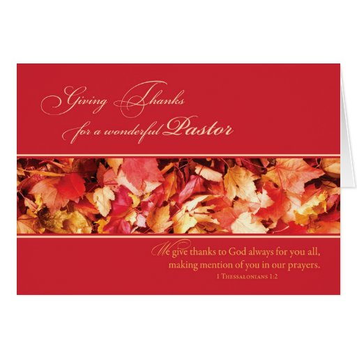 Pastor Thanksgiving Leaves, Religious Cards