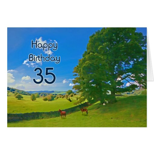Pastoral landscape painting 35th Birthday card