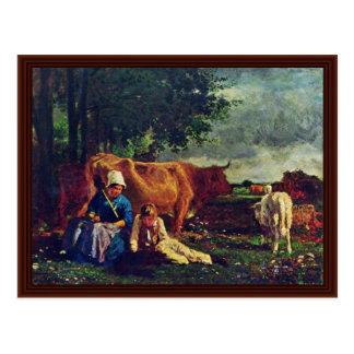 Pastoral Scene By Troyon Constant Postcard