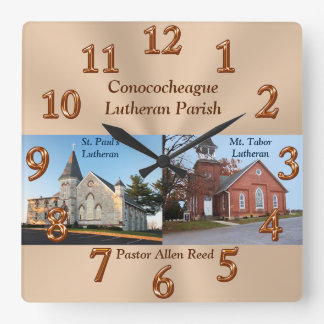 Pastors Appreciation Gifts with Photo and Text Square Wall Clock
