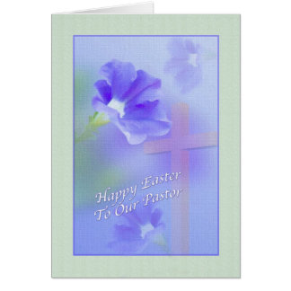 Pastor's Easter Card with Flower and Cross