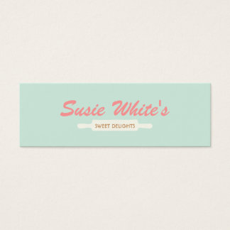 Pastry Chef Rolling Pin Cute Retro Bakers No. 3 Mini Business Card