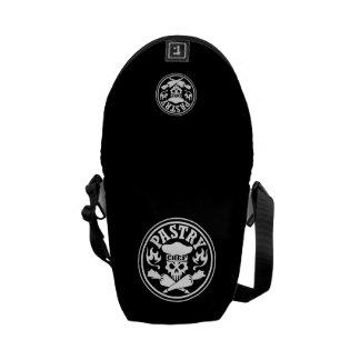 Pastry Chef Skull and Crossed Pastry Bags Black Messenger Bags