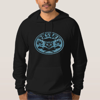 Pastry Chef Skull and Pastry Bags Light Blue Hooded Sweatshirt