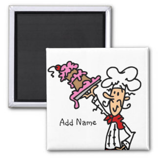 Pastry Chef With Cake Baking Customized Add Name Magnet
