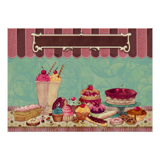 Pastry Cupcake Patisserie Bakery Shop Sign Poster