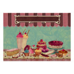 Pastry Cupcake Patisserie Bakery Shop Sign Print