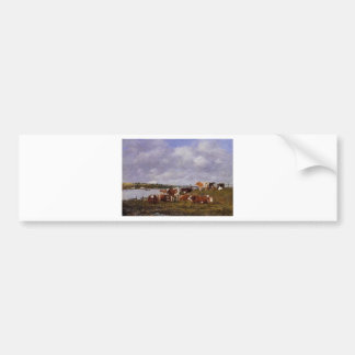 Pasturage, the Valley of the Touques Eugene Boudin Bumper Sticker