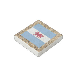 Patagonia Flag on Textile themed Stone Magnet