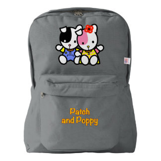 Patch and Poppy on backpack. Backpack