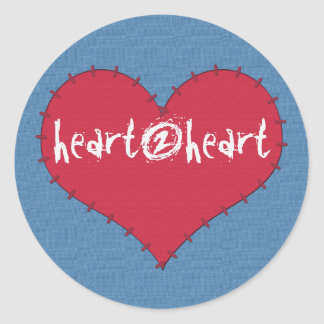 Patch Heart red on blue sticker