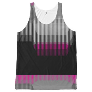 Patched Stripes All-Over Print Singlet
