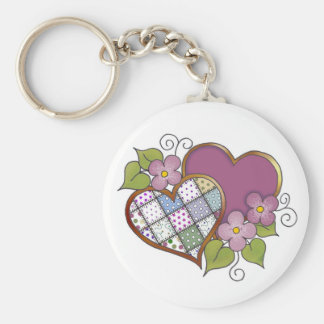 Patchwork 03 Maroon Basic Round Button Key Ring