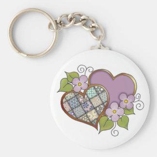 Patchwork 04 Purple Basic Round Button Key Ring