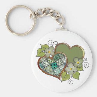 Patchwork 06 Dark Leaf Green Basic Round Button Key Ring