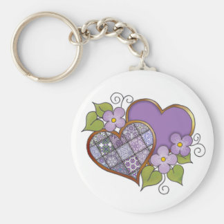 Patchwork 08 Royal Purple Basic Round Button Key Ring