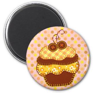 Patchwork Applique Sunshine Cupcakes 6 Cm Round Magnet