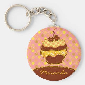 Patchwork Applique Sunshine Cupcakes Basic Round Button Key Ring