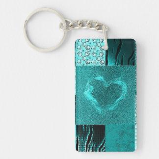 Patchwork aqua rectangle acrylic keychain