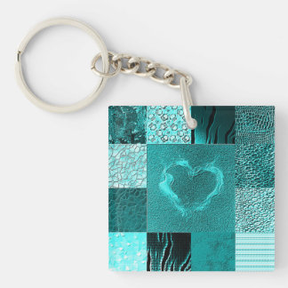 Patchwork aqua Double-Sided square acrylic keychain