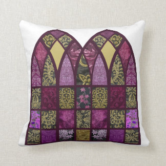 Patchwork Arch in Raspberry and Purple Cushion