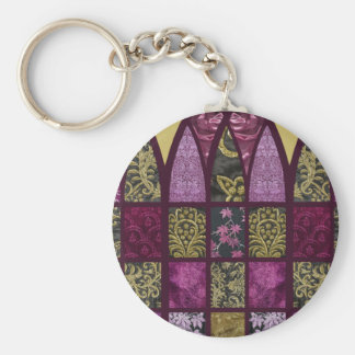 Patchwork Arch in Raspberry Basic Round Button Key Ring
