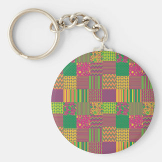 Patchwork Basic Round Button Key Ring
