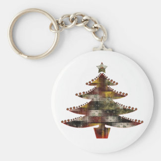 Patchwork Christmas Basic Round Button Key Ring