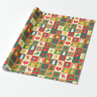 Patchwork Christmas symbols wrapping paper