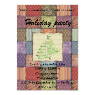 Patchwork Christmas tree corporate holiday party Card