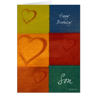 Patchwork Colors and Hearts Son's Birthday Card