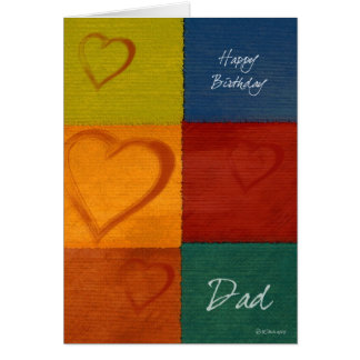 Patchwork Colours and Hearts Father's Birthday Card