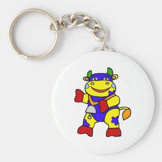 Patchwork Cow Basic Round Button Key Ring