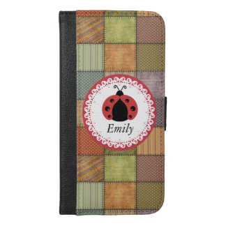Patchwork cute trendy girly ladybug  monogram iPhone 6/6s plus wallet case