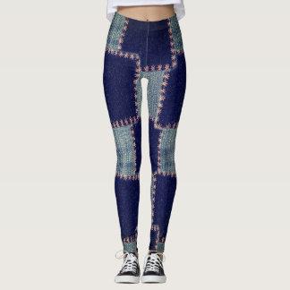 Patchwork Denim Skinny Jeans Leggings