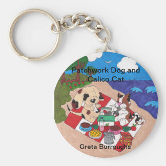 Patchwork Dog and Calico Cat Keychain