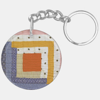 Patchwork Double-Sided Round Acrylic Key Ring