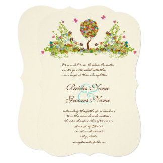 Patchwork Enchanted Forest Tree Wedding Invitation