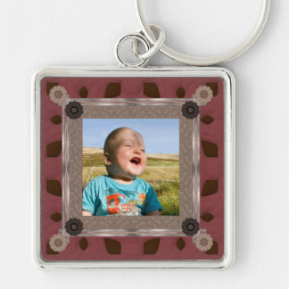 Patchwork Enthusiast Photo Frame Silver-Colored Square Key Ring