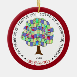 Patchwork Family Tree Genealogy Gift Red Ceramic Ornament