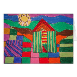 """Patchwork Farm"" (Oil Pastels and Pen) Card"