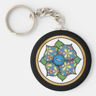 Patchwork Flower - 01 Basic Round Button Key Ring