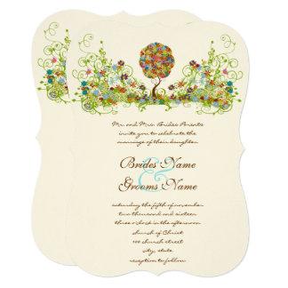 Patchwork Flower Love Tree Wedding Invitation