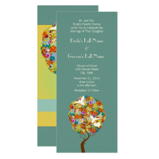 Patchwork Flower Tree and Bees Wedding Invitation