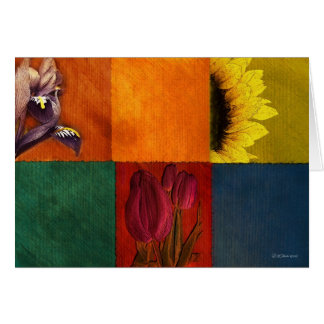 Patchwork Flowers-Greeting card