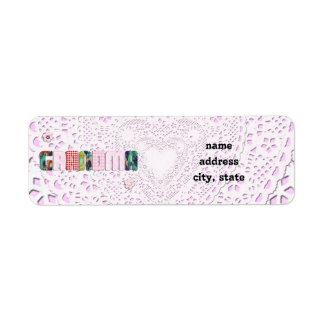 Patchwork 'Grandma' On Lace Return Address Label