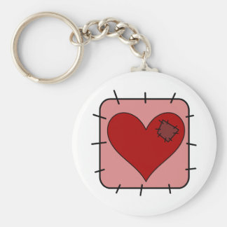 Patchwork Heart Basic Round Button Key Ring
