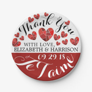 Patchwork Heart Je T'aime Wedding 7 Inch Paper Plate